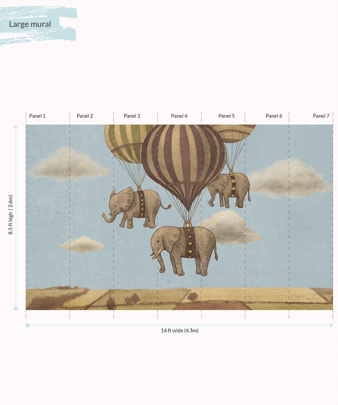 Flight of the Elephants Wall Mural - Large