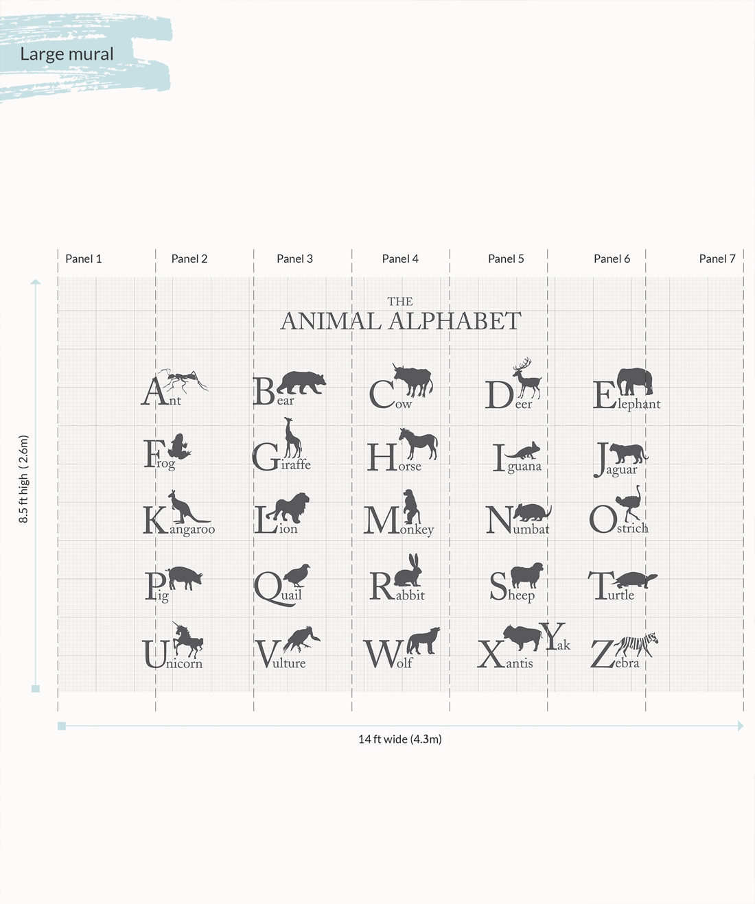 Large Wall Mural Animal Alphabet - Large