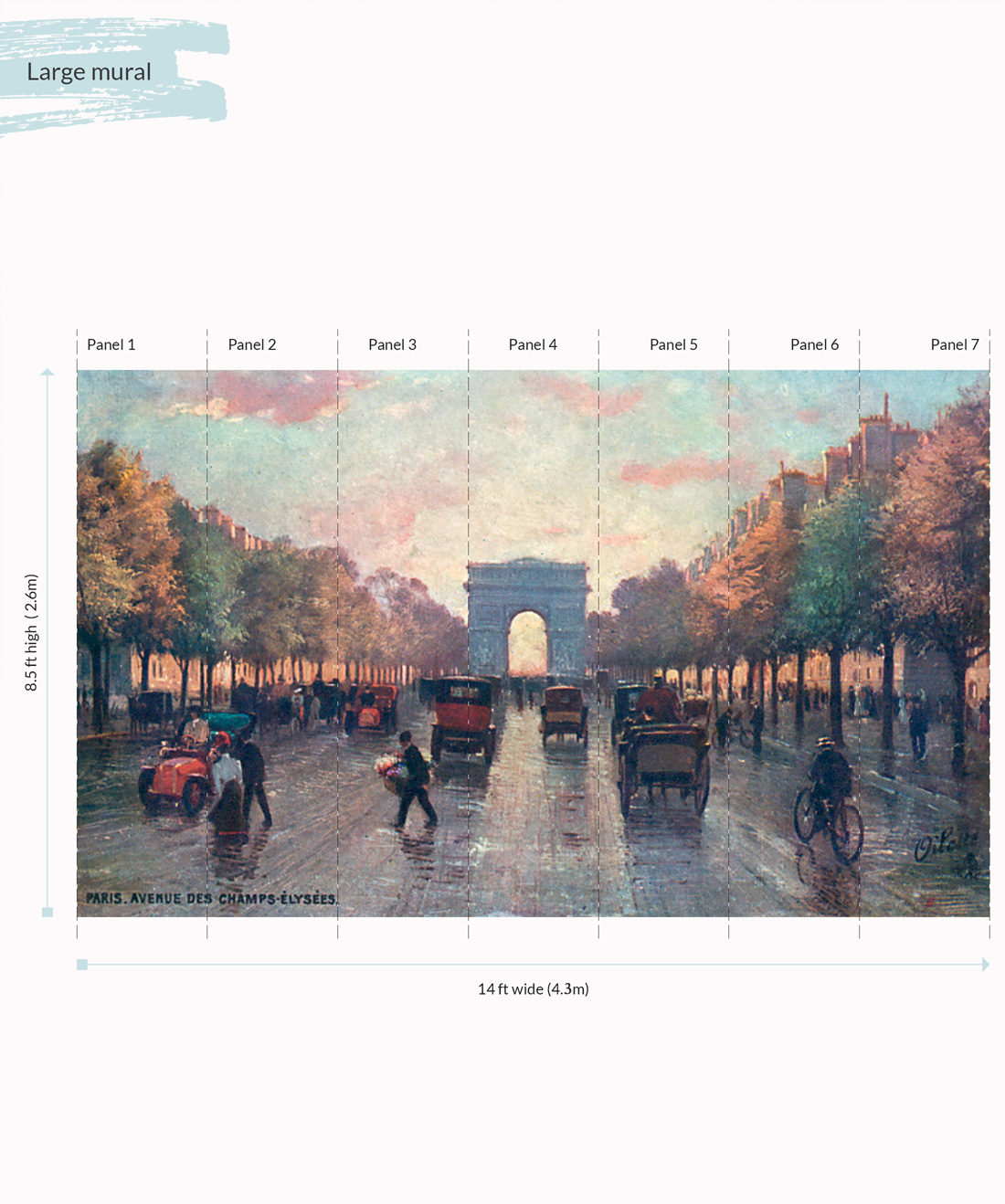 Champs Elysees Wall Mural - Large