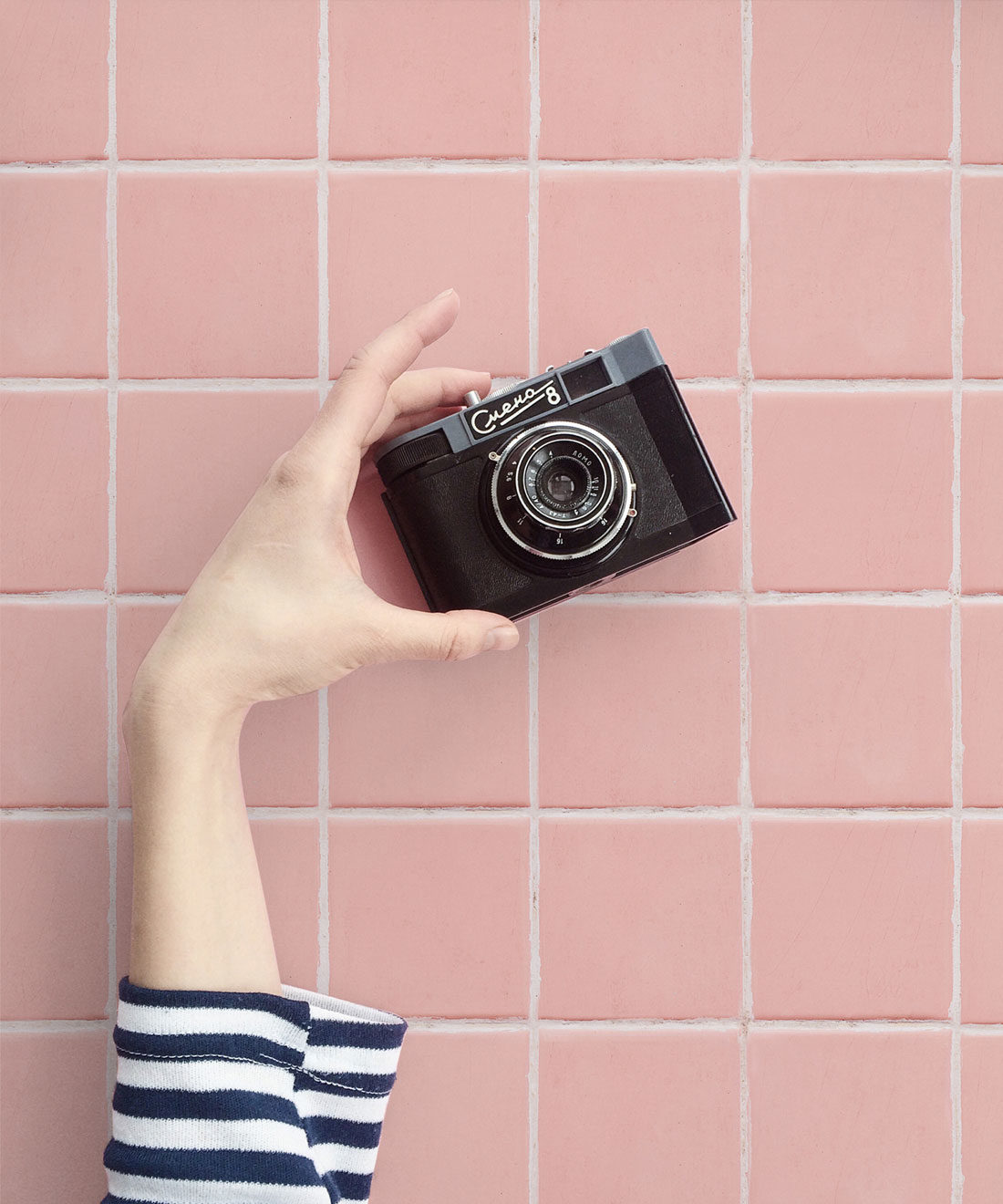 Pink Tiles Wallpaper with camera