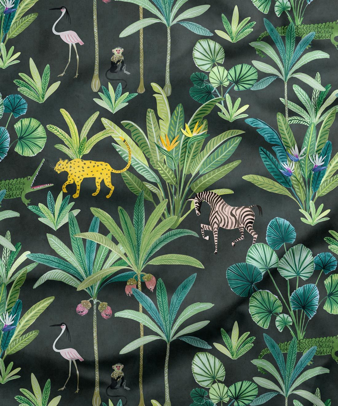 Animal Kingdom Fabric Charcoal