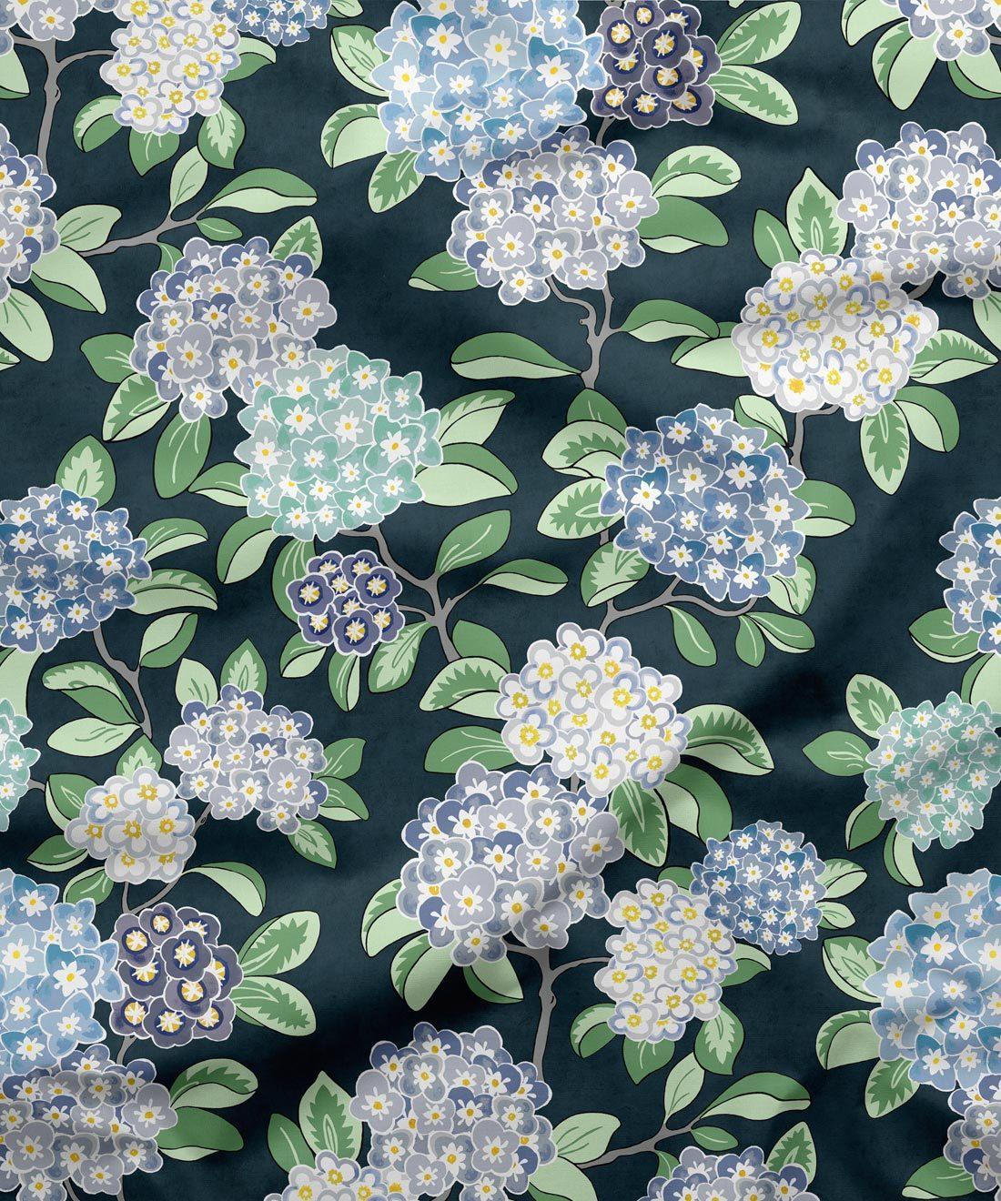Hydrangea Fabric Navy