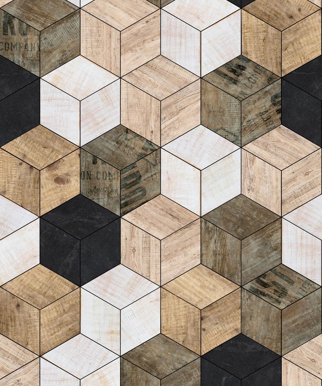 Geometric Timber Cube Wallpaper