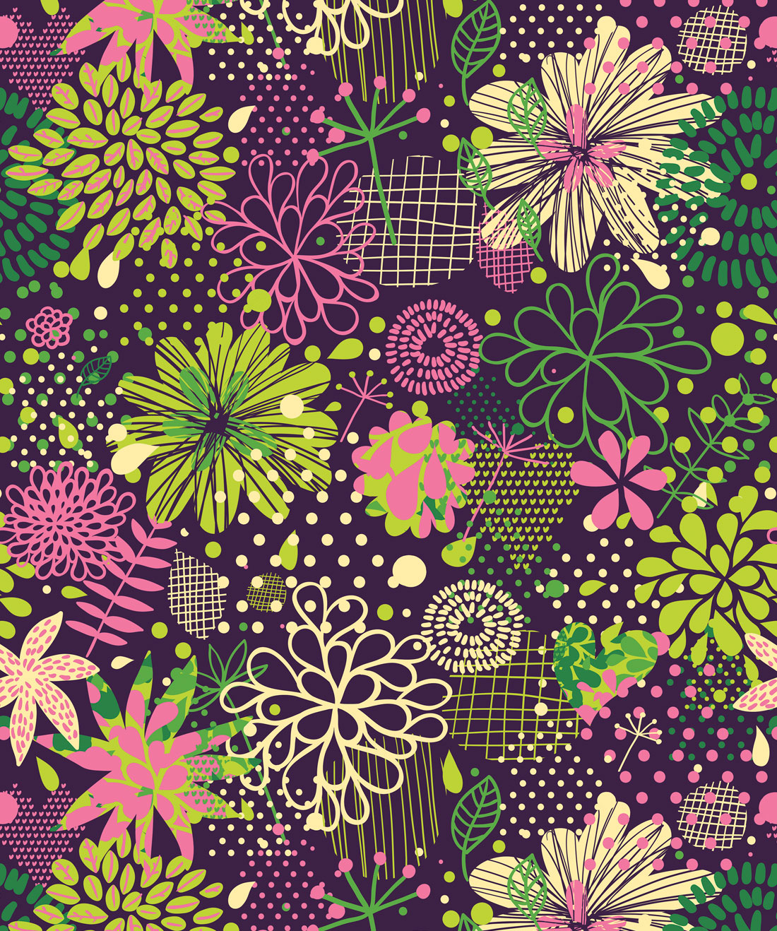 Neon Flowers Wallpaper