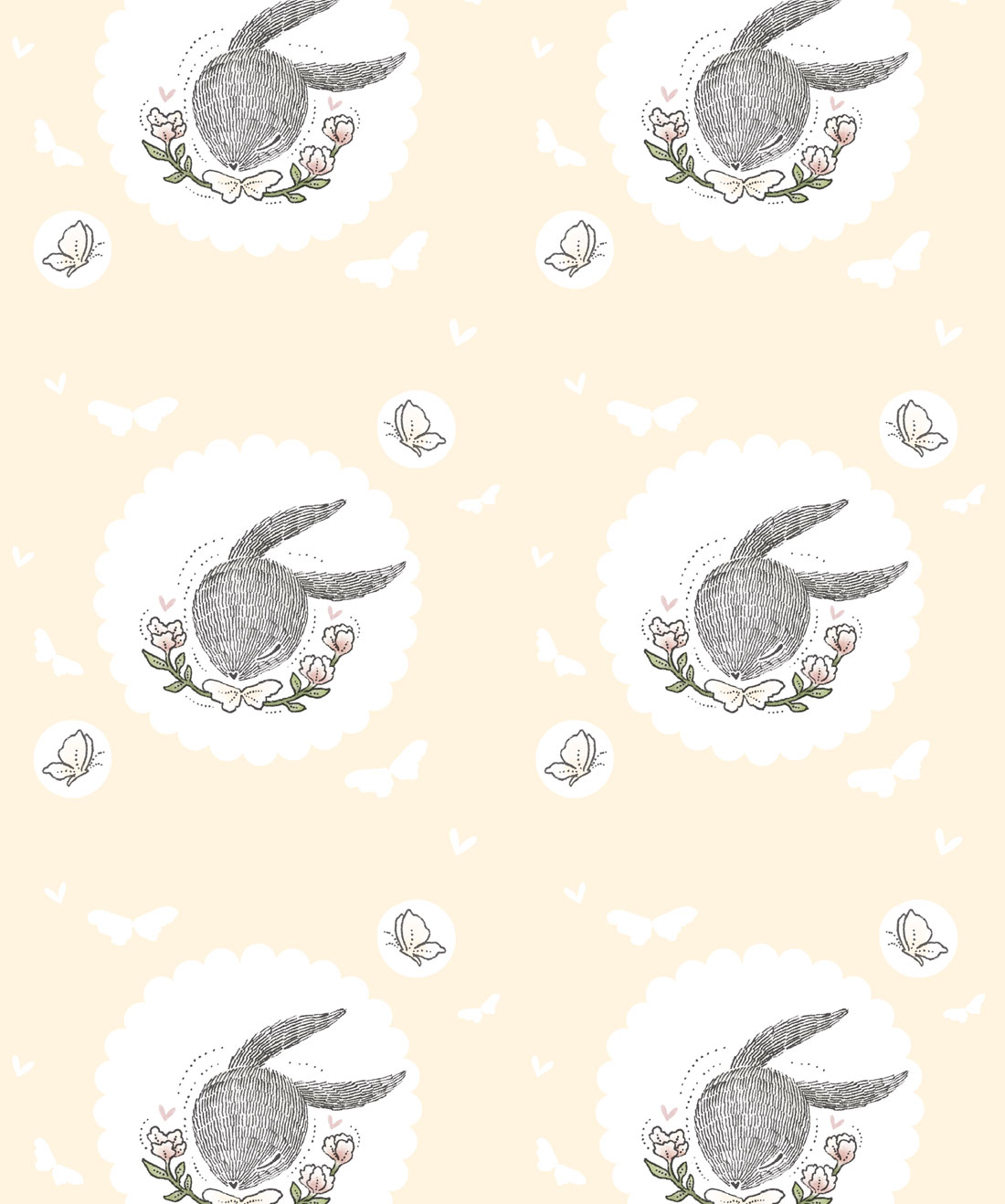 Rabbit & Butterfly Wallpaper