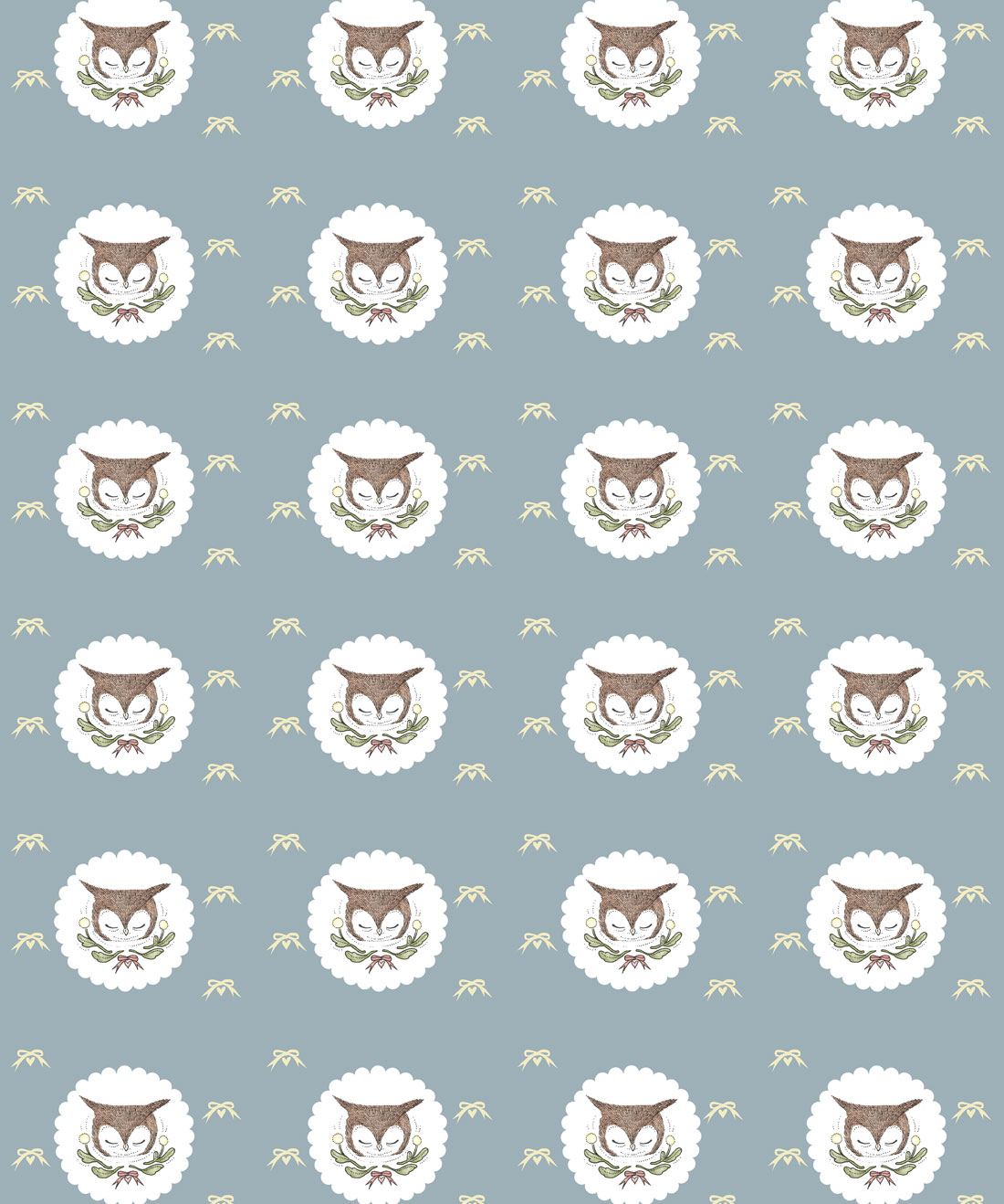 Owl Ribbons Wallpaper