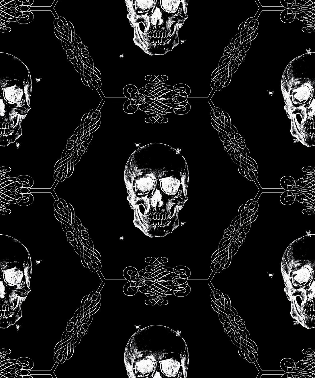 Skull Bee Gothic Wallpaper Kingdom Home Milton King Aus