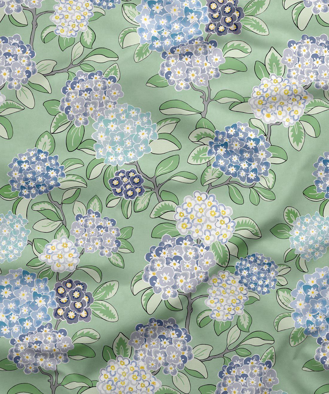 Hydrangea Fabric Green