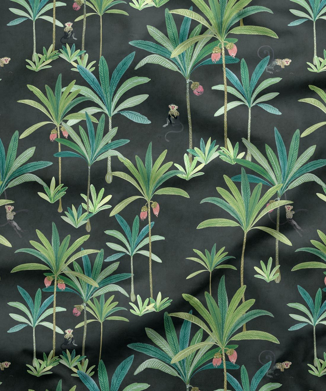 Monkey Palm Fabric Charcoal