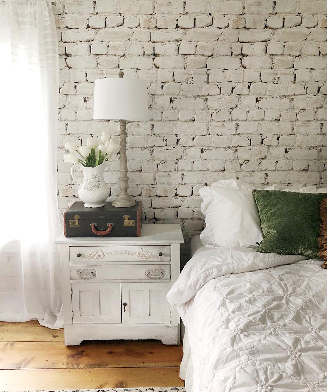 Whitewash Bricks Wallpaper, White Rustic Brick Wallpaper