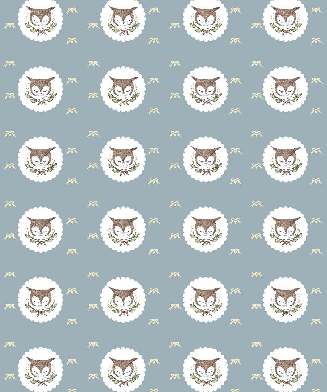 Owl Ribbons Wallpaper