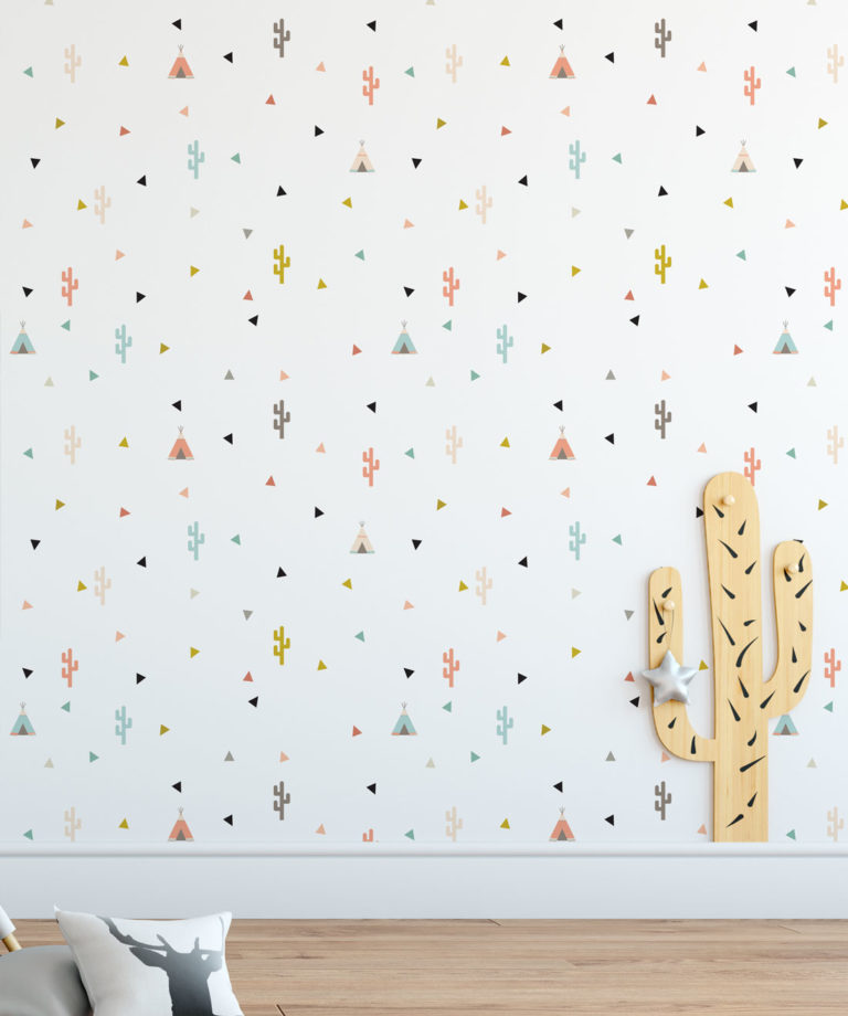 Teepee & Cactus Kids Wallpaper