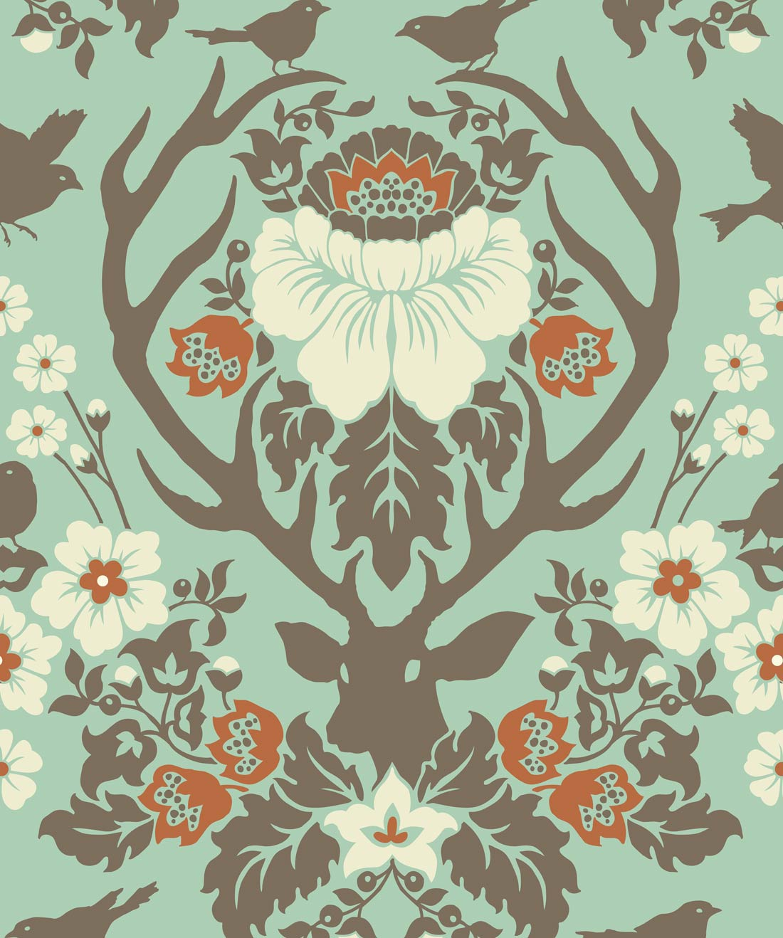 Antler Damask Wallpaper