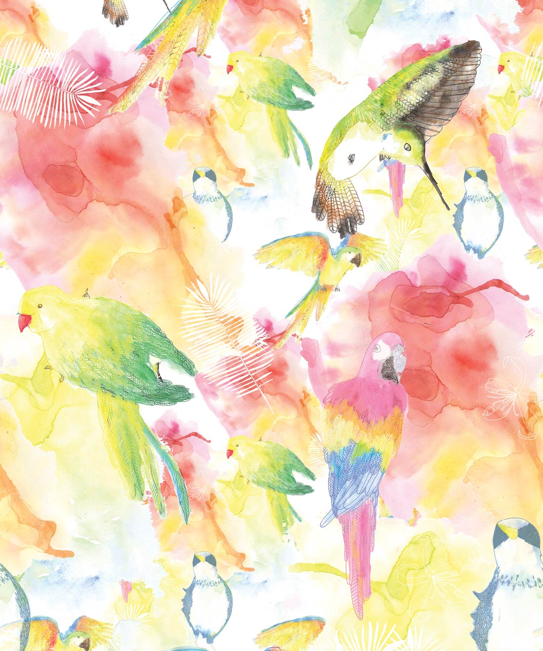 Watercolour Birds Wallpaper