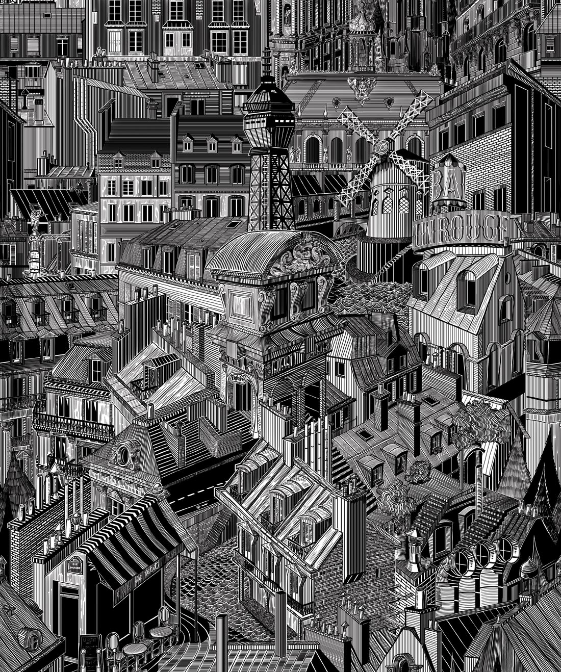 Paris Rooftops Unique Illustrative Designer Wallpaper Milton