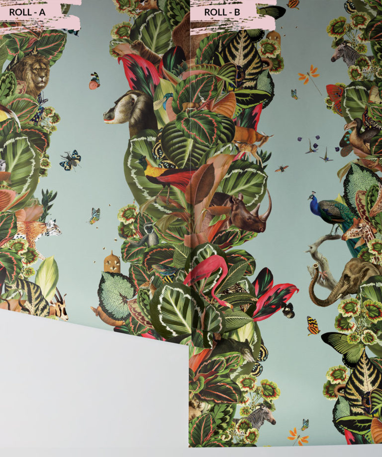 Viva Tropicana, Tropical Wallpaper Duck egg