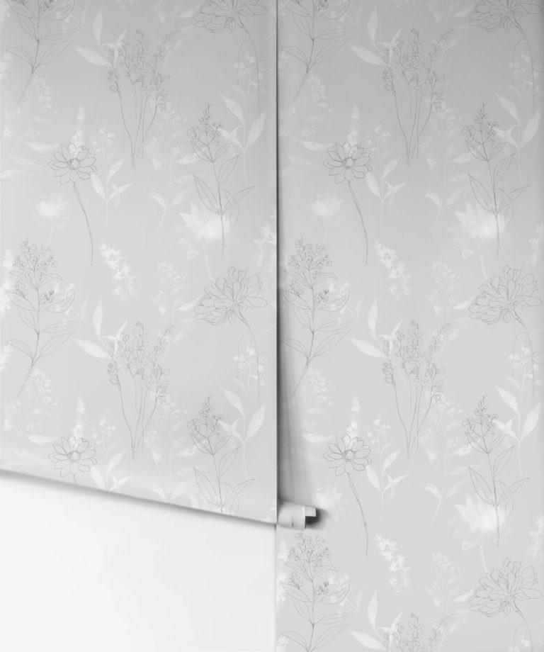 Dalrymple Grey Floral Wallpaper, Sheridan | Milton & King