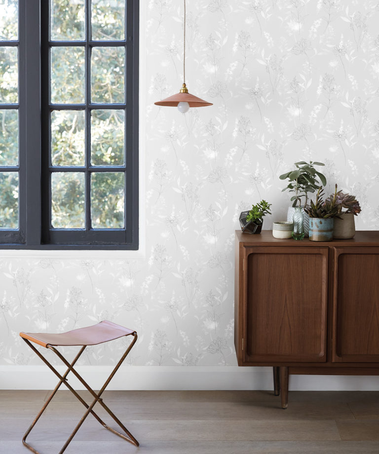 Dalrymple Grey Floral Wallpaper, Sheridan | Milton & King