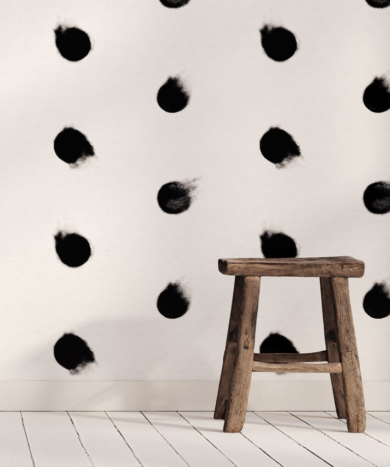 La Trobe Black and white spots wallpaper