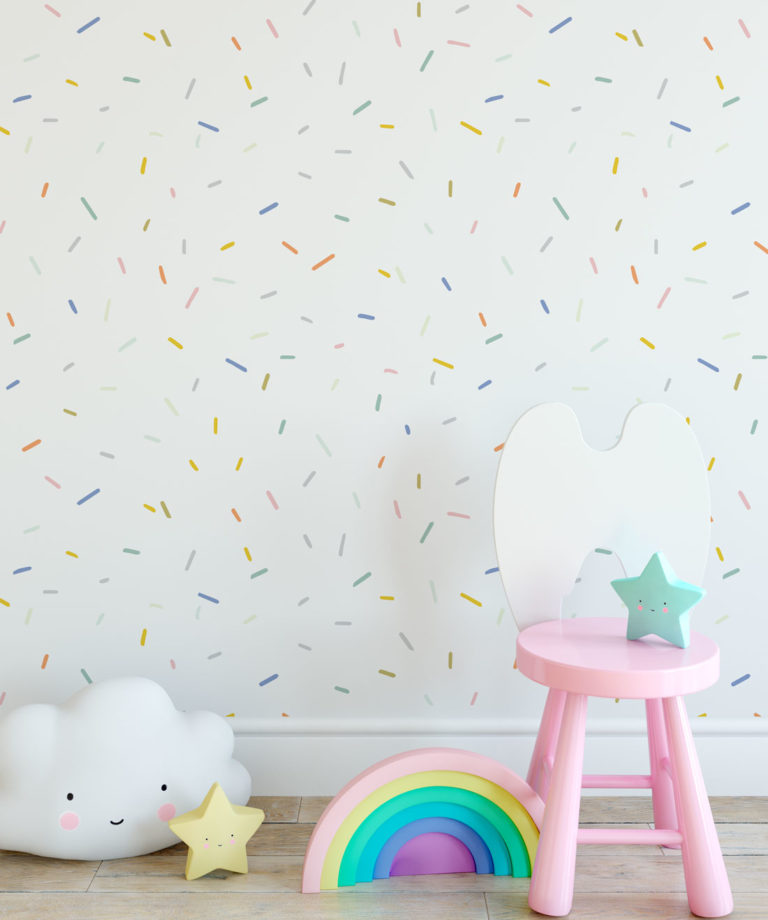 White Confetti Wallpaper Installation