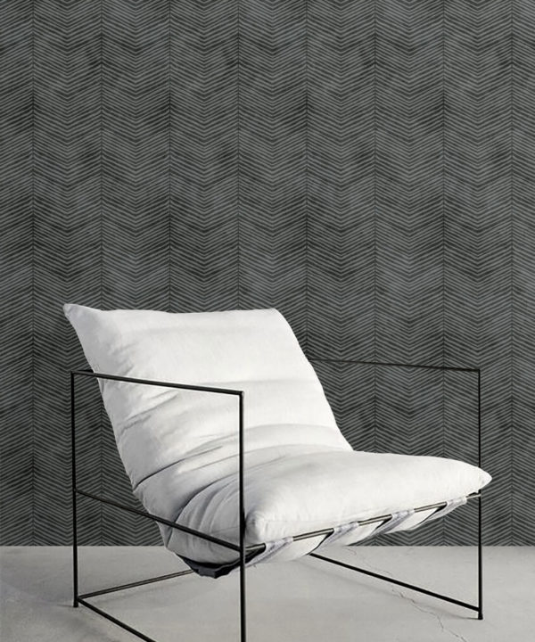 Black Herringbone Wallpaper