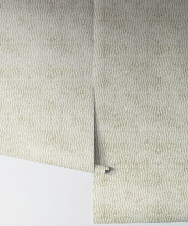 Green Herringbone Wallpaper