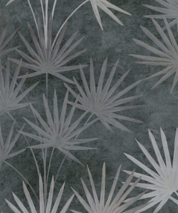 Oriental Palm leaf wallpaper Charcoal