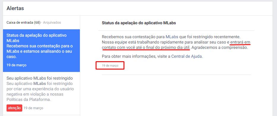 Facebook não retornou a apelação