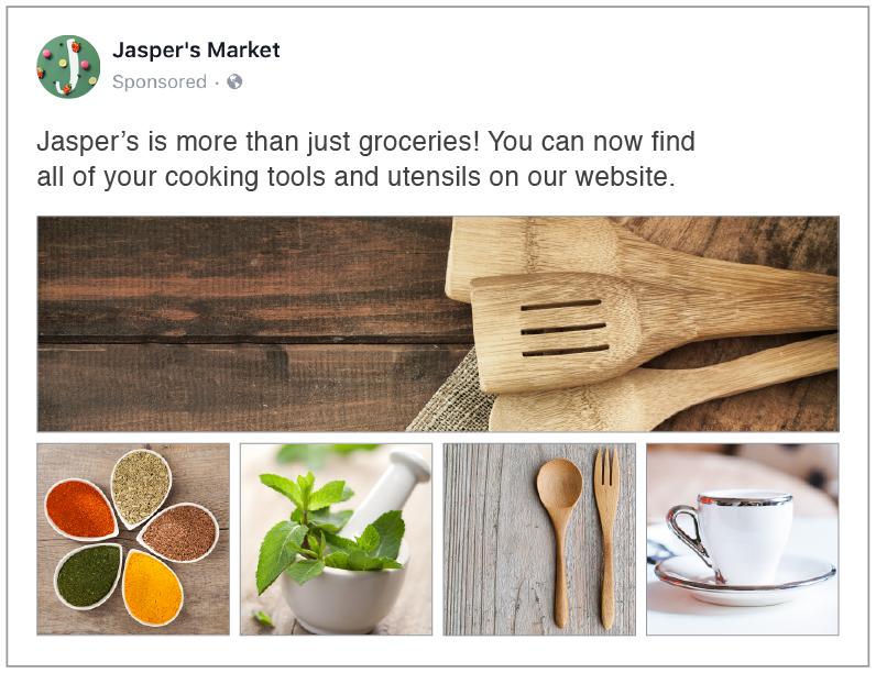 Guia anúncios - coleção no Facebook
