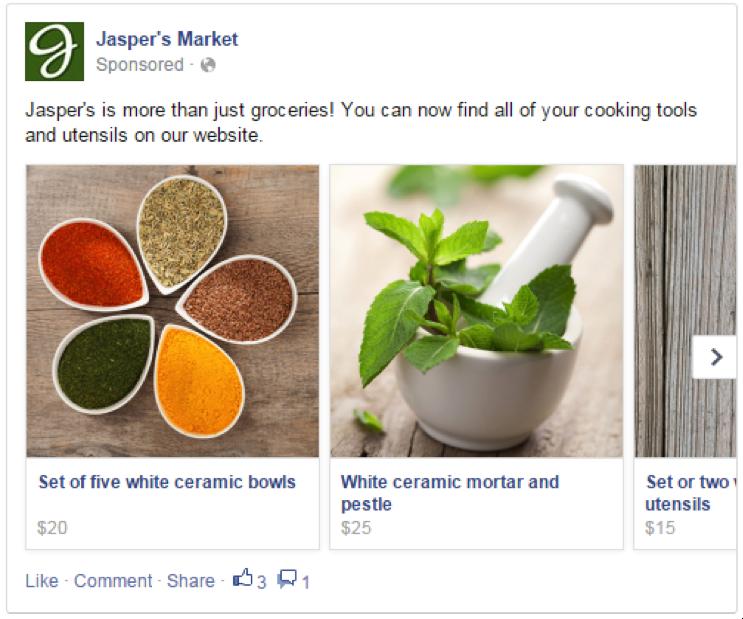 MPA facebook carrossel - facebook ads