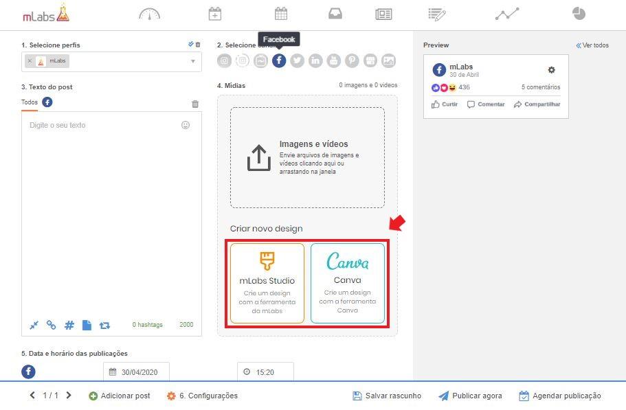 Como programar post no facebook: imagem da tela de agendamento da mLabs, mostrando onde se localizam os editores Studio mLabs e Canva