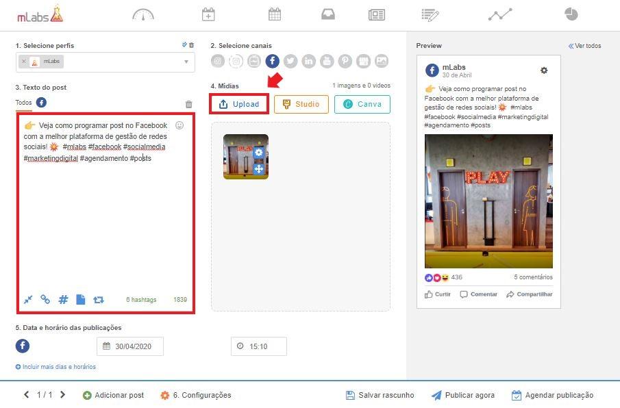 Como programar post no facebook: imagem da tela de agendamento da mLabs, mostrando o botão upload e o campo de texto da ferramente