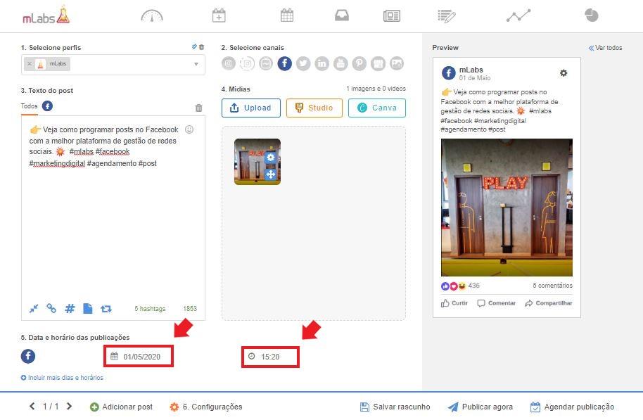 Como programar post no facebook: imagem da tela de agendamento da mLabs, mostrando onde selecionar a data e horário da publicação