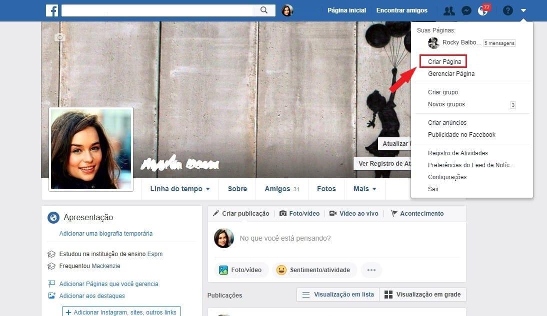 Criar página no Facebook passo 1