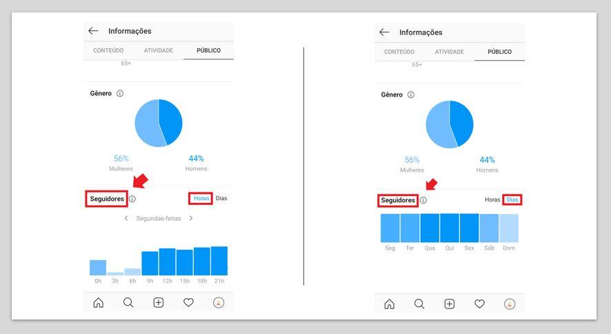 Melhores horários para postar no Instagram: imagem da ferramenta Instagram Insights indicando o passo a passo
