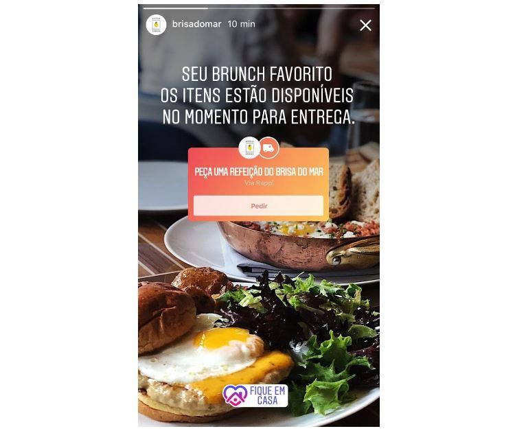Instagram Stories: imagem do sticker peça uma refeição