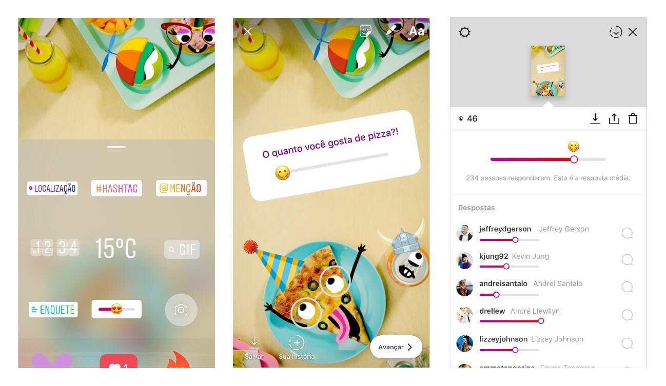 Instagram Stories: imagem do sticker emoji deslizável