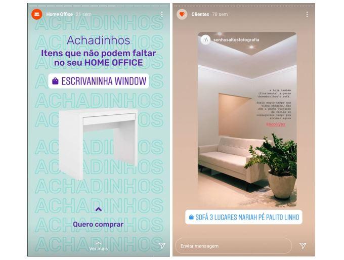 Instagram Stories: imagem de dois Stories com produtos