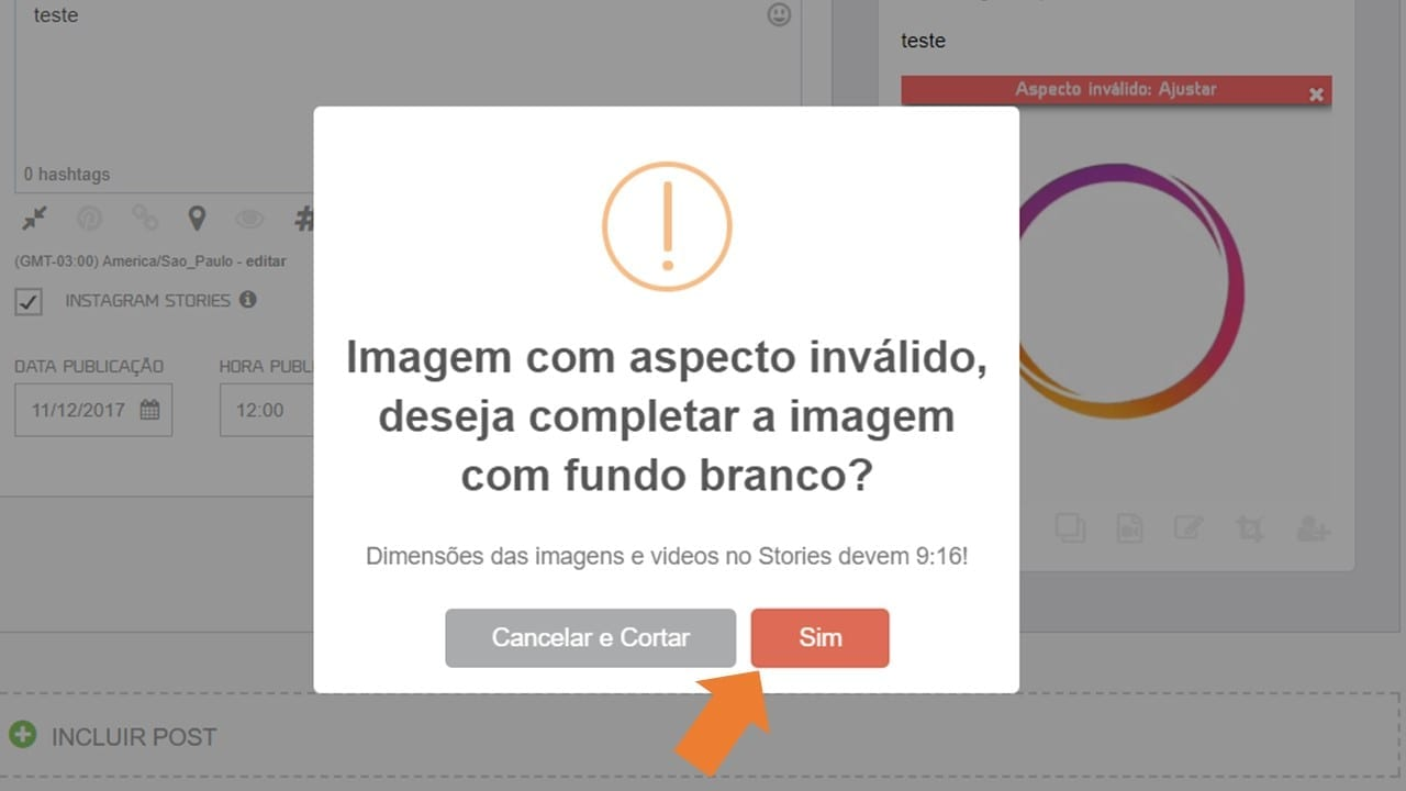 agendamento no Instagram Stories - aspecto inválido