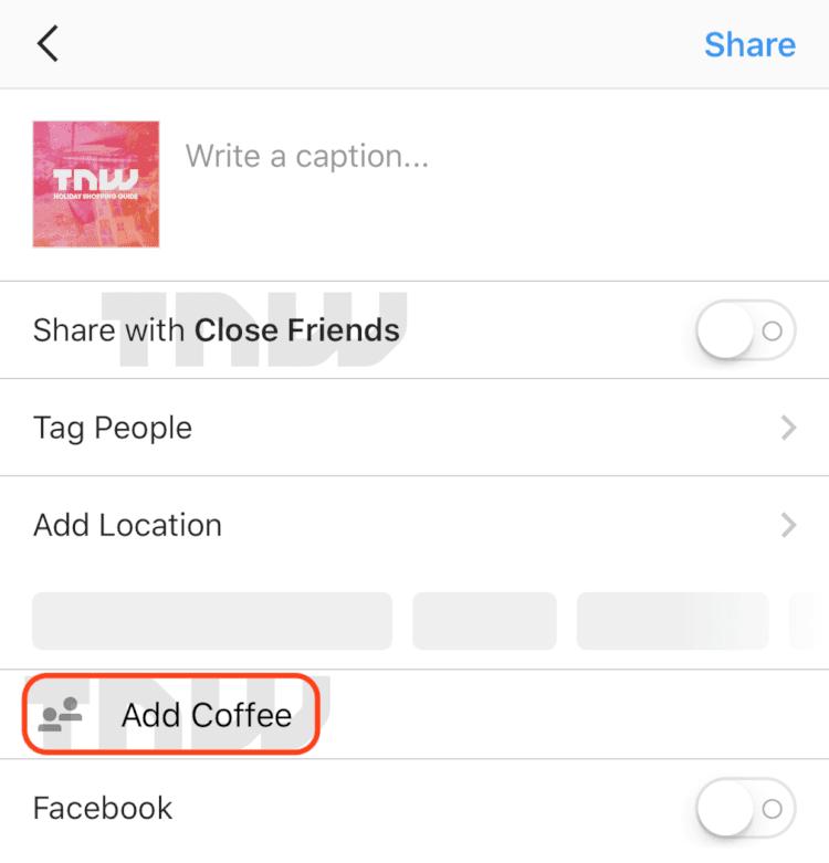 atualizações do instagram - add coffee