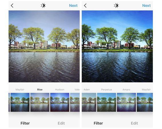 Instagram: imagem de duas fotos, uma com filtro do Instagram e a outra sem