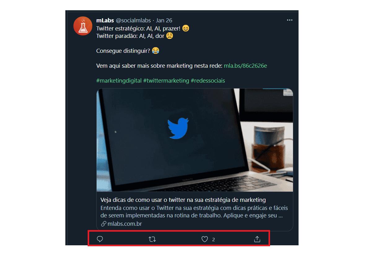 O que é Twitter: destaque para os quatro símbolos de interação que aparecem em cada uma das mensagens tweetadas no Twitter, um balão, uma caixa formada por duas setas, um coração e uma seta saindo de dentro de uma caixa.