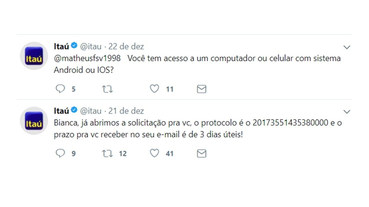 sac itau - marketing no twitter