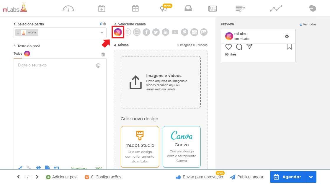 como programar postagens no instagram: imagem da tela de agendamento da mLabs indicando onde selecionar os canais