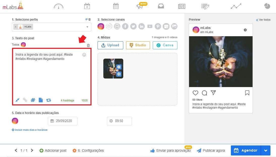 como programar postagens no instagram: imagem da tela da mLabs indicando onde inserir o texto e as hashtags do post