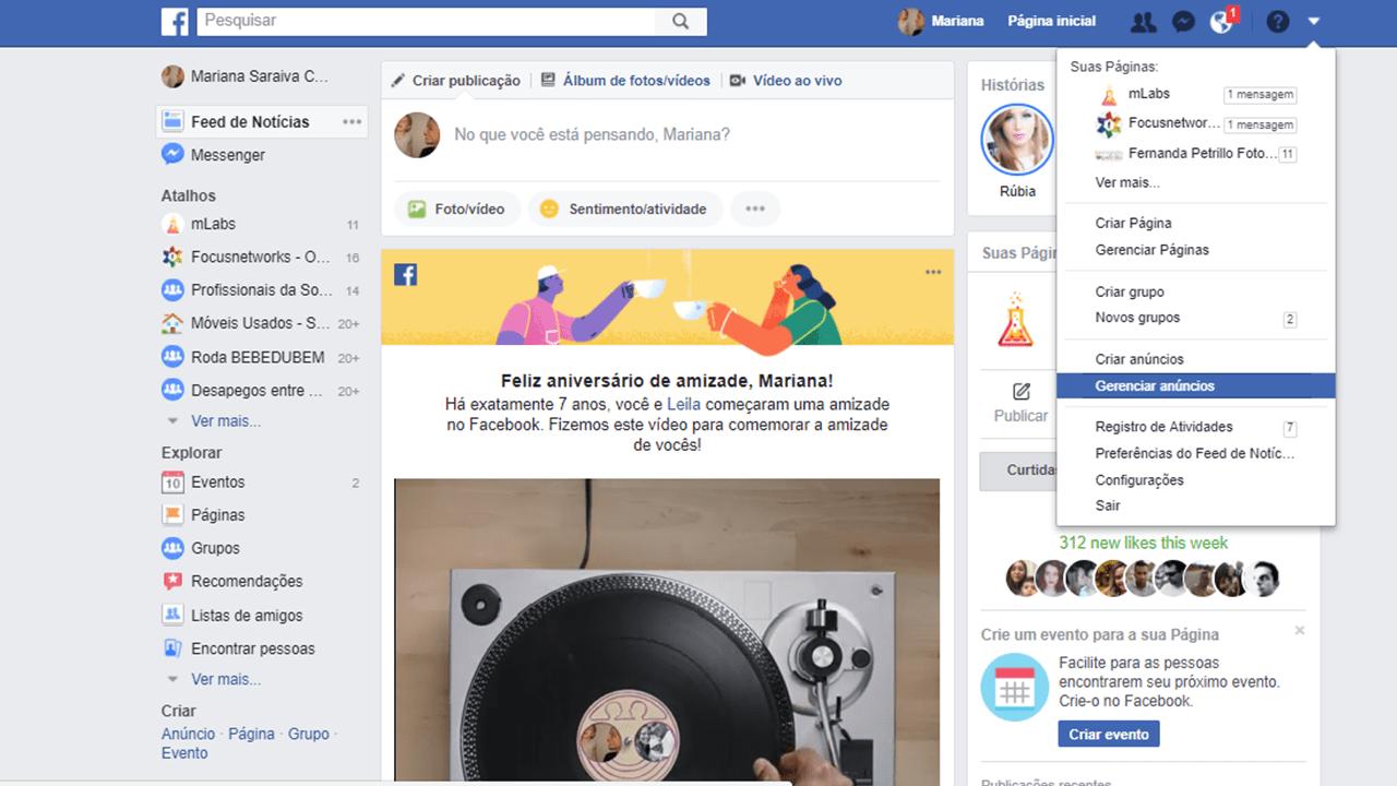 Gerenciador de Anúncios Facebook Ads - acesso pelo perfil