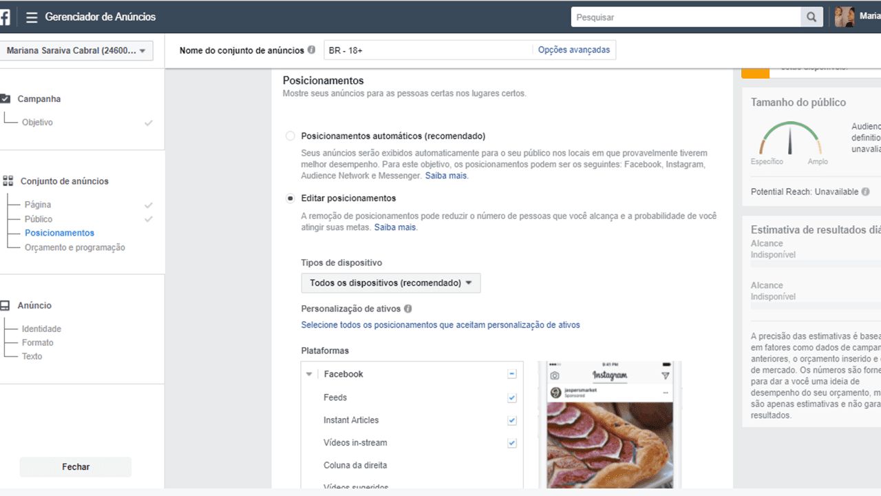 Gerenciador de anúncios do Facebook Ads - posicionamentos