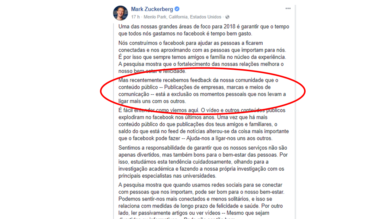mudança no algoritmo do facebook