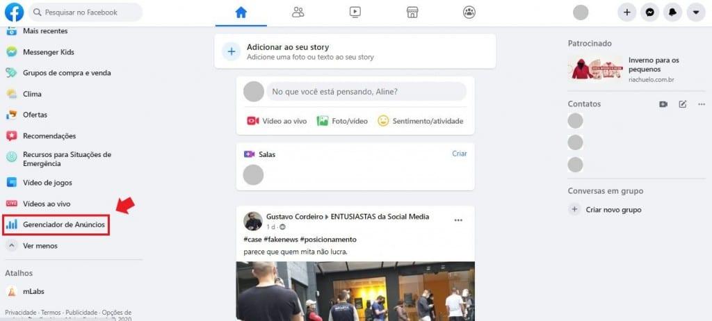 Gerenciador de anúncios do Facebook: imagem da página principal do Facebook indicando onde fica o Gerenciador de Anúncios