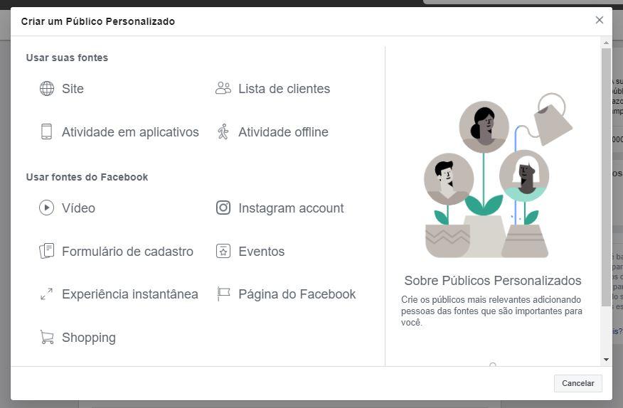 Gerenciador de anúncios do Facebook: imagem da página de criação de Públicos personalizado